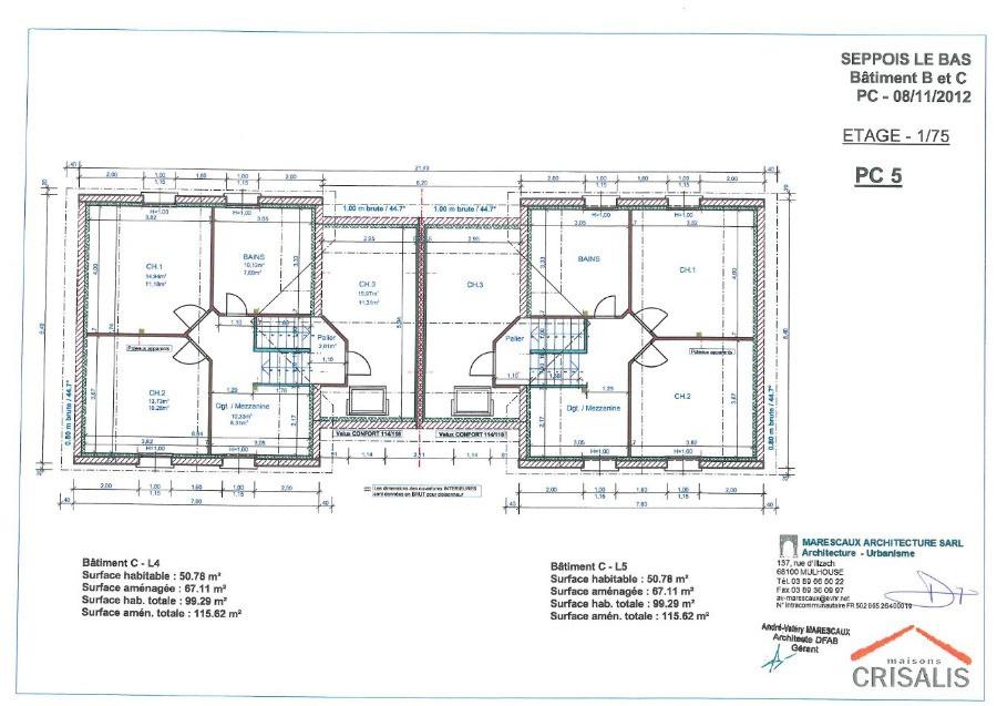 Beautiful maison jumel e plan contemporary for Plan maison jumelee gratuit