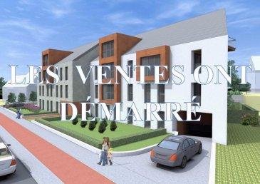 Un appartement à vendre, au 2ième étage, surface habitable : 111,49 m2, LOT 22, 3 chambres à coucher, cuisine ouverte, salle à manger et salon, séjour, débarras, SDB, SDD, WC séparé, balcon - loggia : 12,47 m2.<br>Date de livraison : 2ième trimestre 2018<br>Prix indiqué HTVA.<br><br>Pour le cahier de charges, plans et réservations, veuillez contacter l'Agence IMMOMOD SA au tel.: 27990953 ou GSM 691 925 485 ou GSM 621 839 320 ou par e-mail: info@immomod.lu