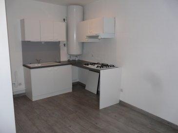 Appartement F2 situé au 1er étage  Cuisine ouverte - Salle d'eau avec WC - Salon - Chambre avec placard