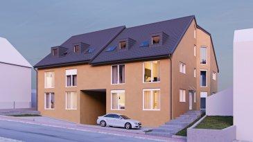 Nouveau projet de construction de deux résidences à 3 unités chacune à Niederpallen.  Chaque résidence comprend un appartement au rez-de-chaussée avec grande terrasse et jardin privé (3 chambres) et deux duplex (2 chambres) au niveau 1 et comble, plus un grenier.  Le sous-sol comprend les locaux techniques, emplacements voitures, caves, locale poubelles, place vélos et poussettes.  Appartement 1: - hall d'entrée - 3 chambres à coucher - wc séparé - salle de douche - grand séjour / salle à manger avec coin cuisine, sortie sur grande terrasse de 56,75m² et jardin - cave.  Emplacement intérieur: 20 000€  Emplacement extérieur: 10 000€  Tva 3% inclus (sous réserve d'acceptation par l'Administration de l'Enregistrement)