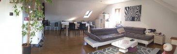 AMNEVILLE : Coquet F3 dans immeuble calme comprenant une cuisine ouverte sur un vaste salon-séjour, deux chambres, une salle de douche, chauffage gaz, double vitrage, cave.