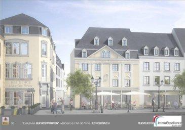 Futur projet QUARTIER MARCHE à proximité de la fameuse Place du Marché à ECHTERNACH. Appartement numéro 1 situé dans la Résidence MARQUISE, d`une surface habitable d`environ 92.10m2  situé au deuxième étage d`une Résidence prochainement en construction et se composant comme suit : Un hall d`entrée, un débarras, un W.C. séparé, une salle-de-bain, une chambre-à-coucher, une cuisine, ainsi qu`une salle-à-manger  et #43; living. Finitions haut de gamme.  Modifications encore possibles. Nous nous tenons bien évidemment à votre entière disposition pour toutes informations supplémentaires. Cet appartement est actuellement réservé. ( Prix Hors T.V.A. ).<br />Ref agence :3372851