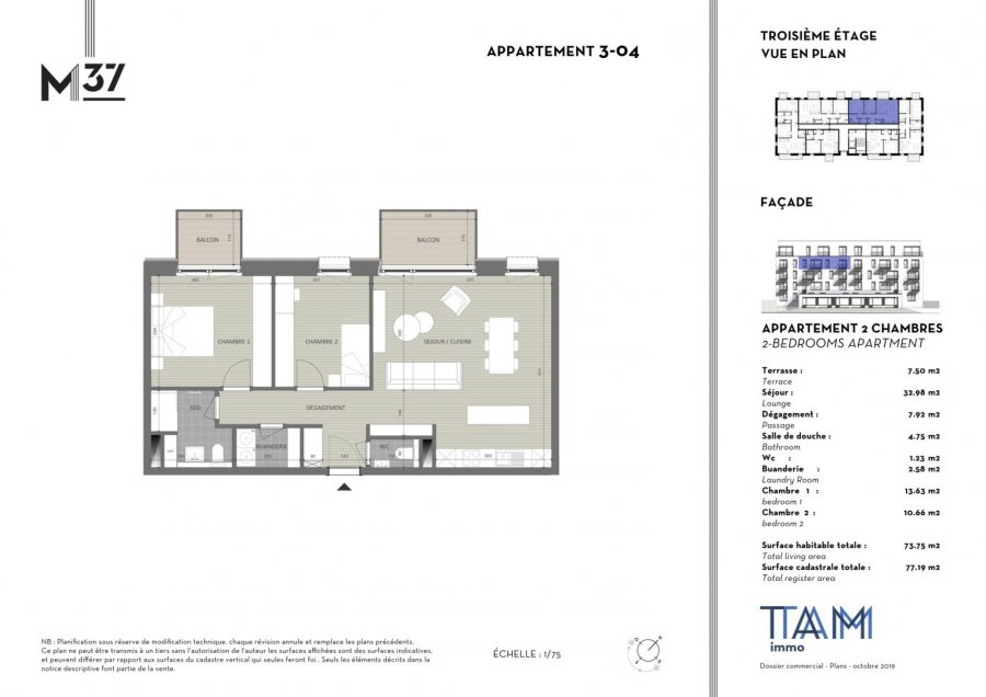 acheter appartement 2 chambres 73.75 m² luxembourg photo 2
