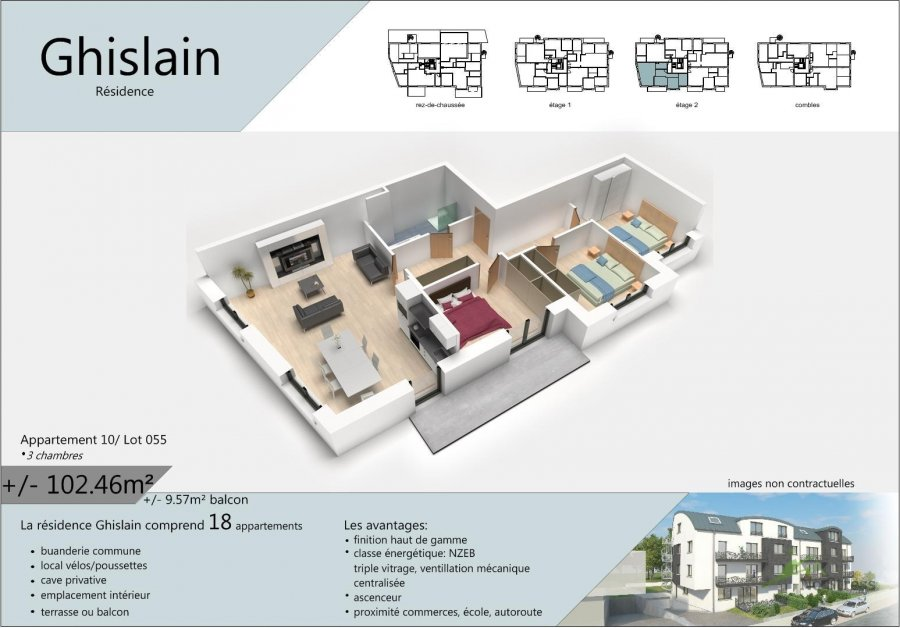 acheter appartement 3 chambres 107.25 m² rodange photo 2