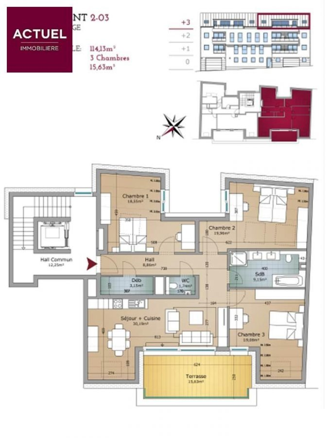 acheter appartement 3 chambres 129.3 m² rodange photo 2