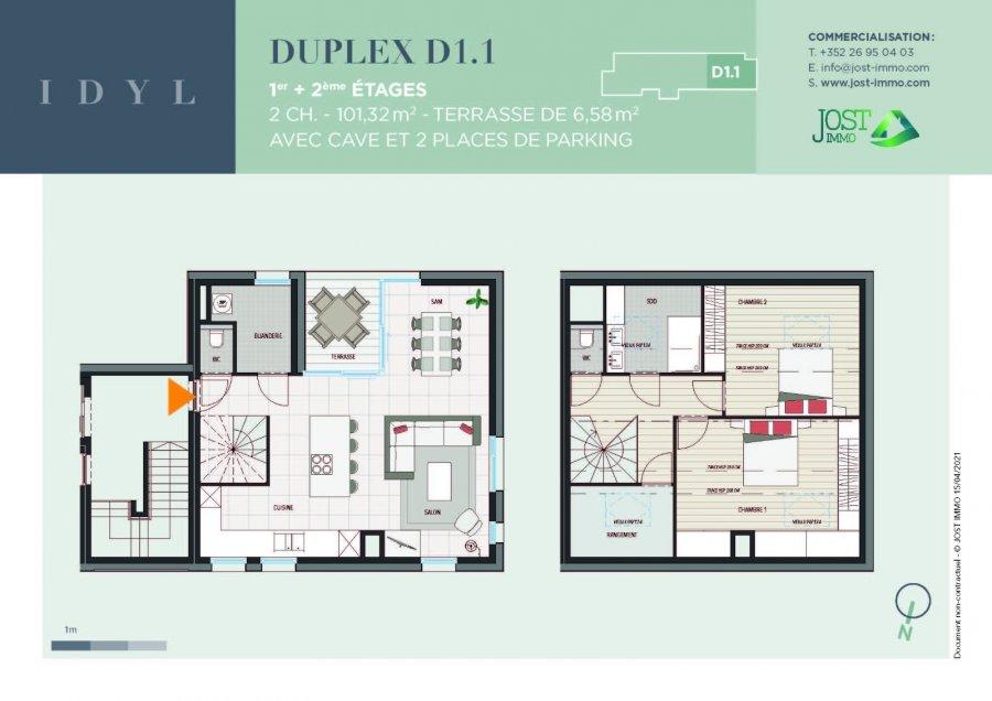 acheter duplex 2 chambres 101.32 m² petit-nobressart photo 2