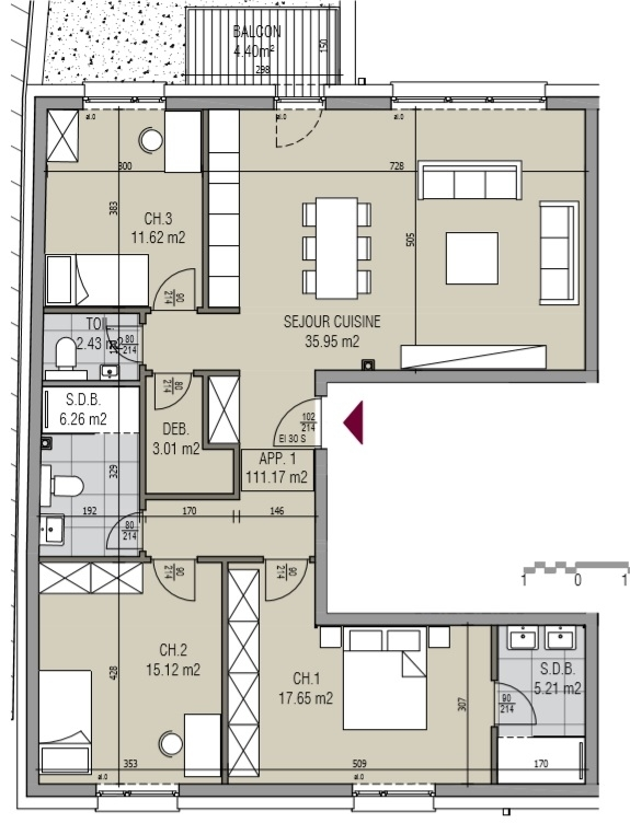 apartment for buy 3 bedrooms 113.16 m² kayl photo 4