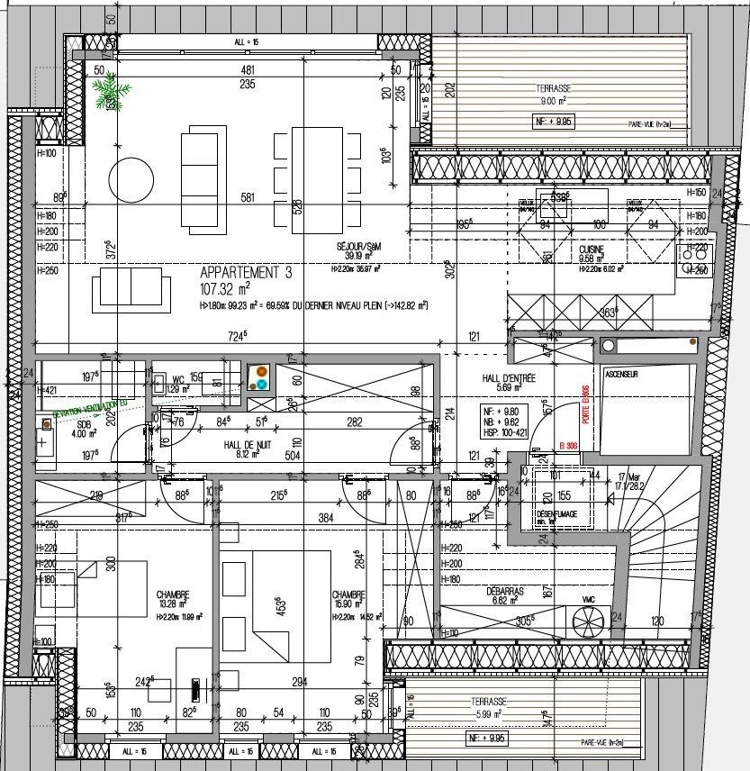 acheter penthouse 3 chambres 116.3 m² kayl photo 5