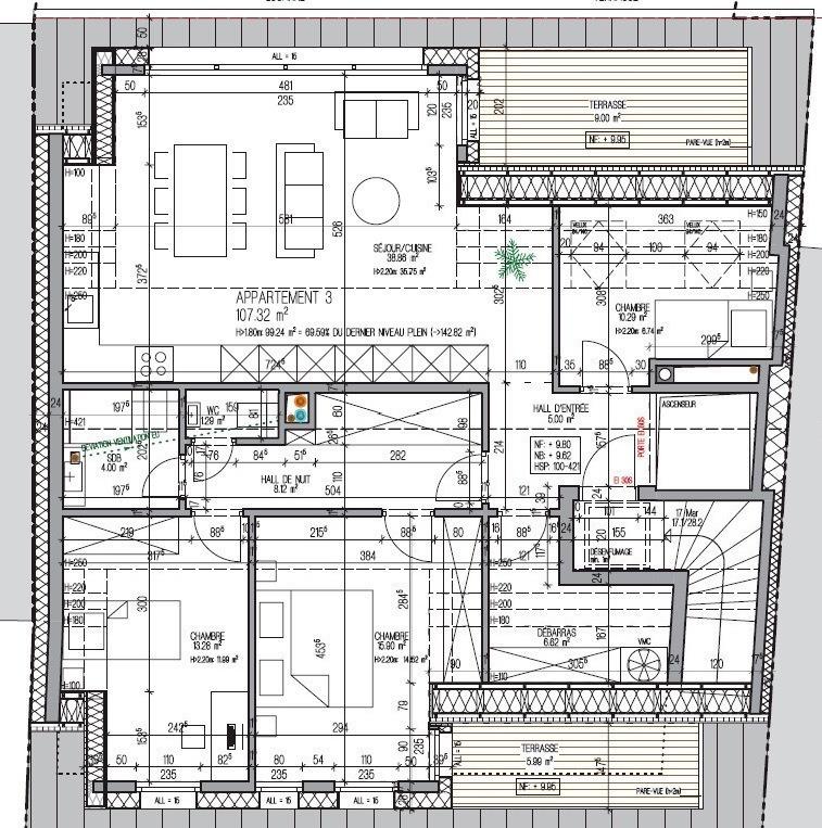 acheter penthouse 3 chambres 116.3 m² kayl photo 6