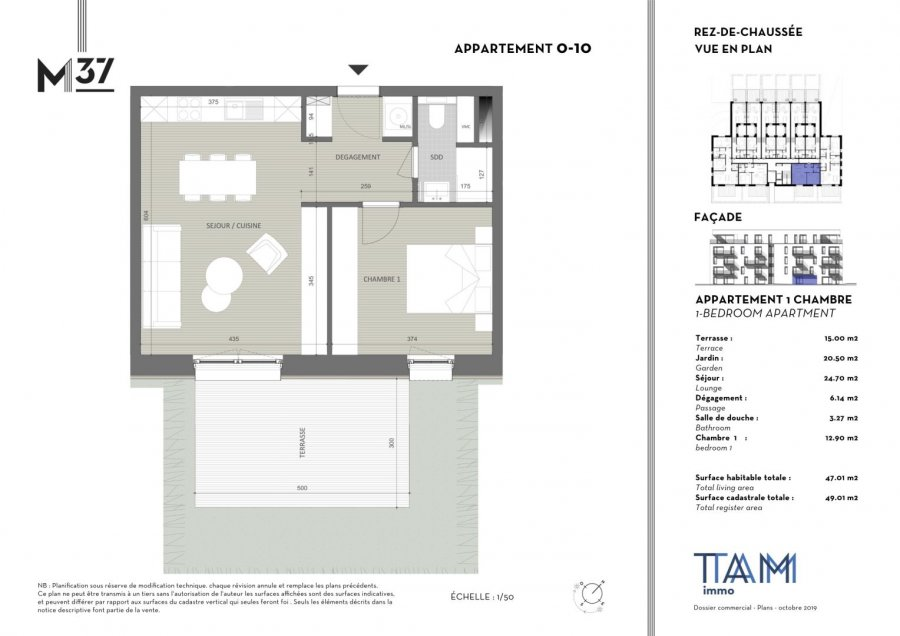acheter appartement 1 chambre 47.01 m² luxembourg photo 1