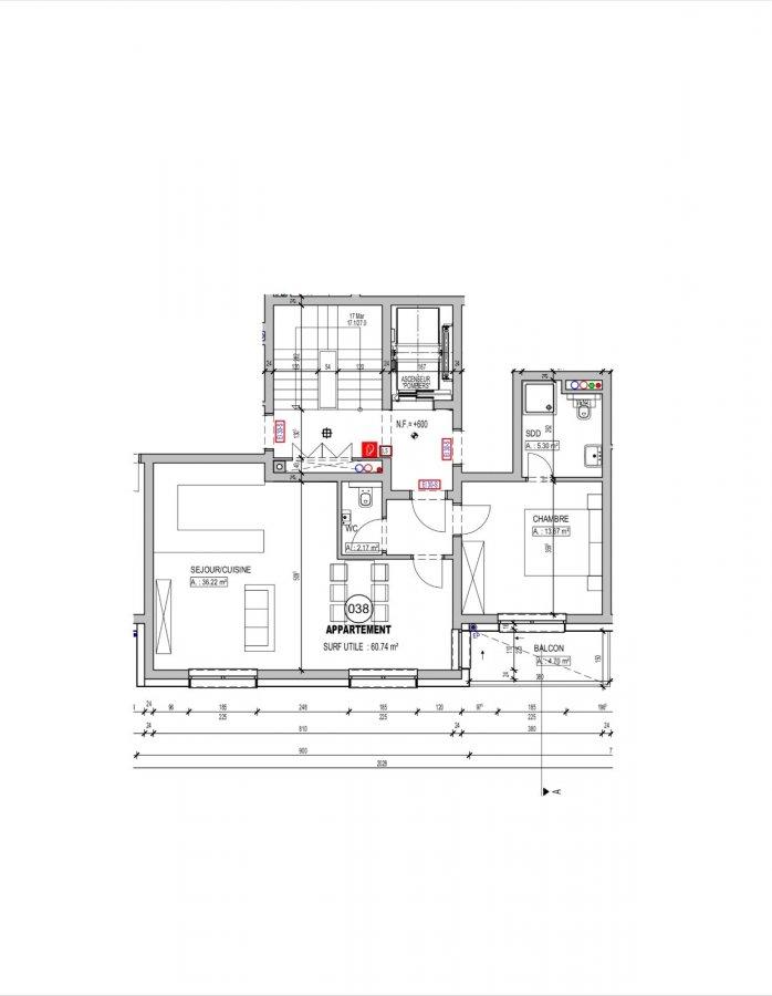 acheter appartement 1 chambre 60.74 m² schifflange photo 2
