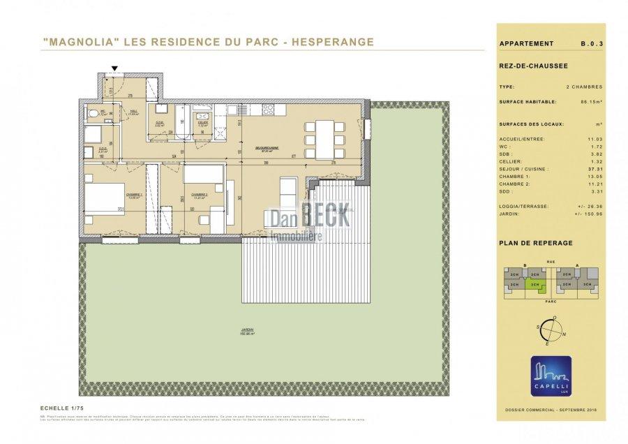 wohnung kaufen 2 schlafzimmer 86.15 m² hesperange foto 2