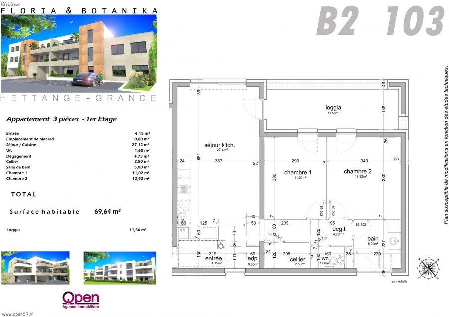 acheter appartement 3 pièces 69 m² hettange-grande photo 2