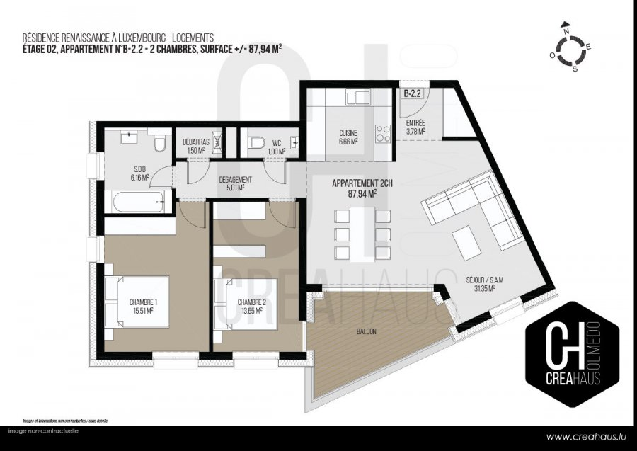 apartment for buy 2 bedrooms 87.94 m² luxembourg photo 3