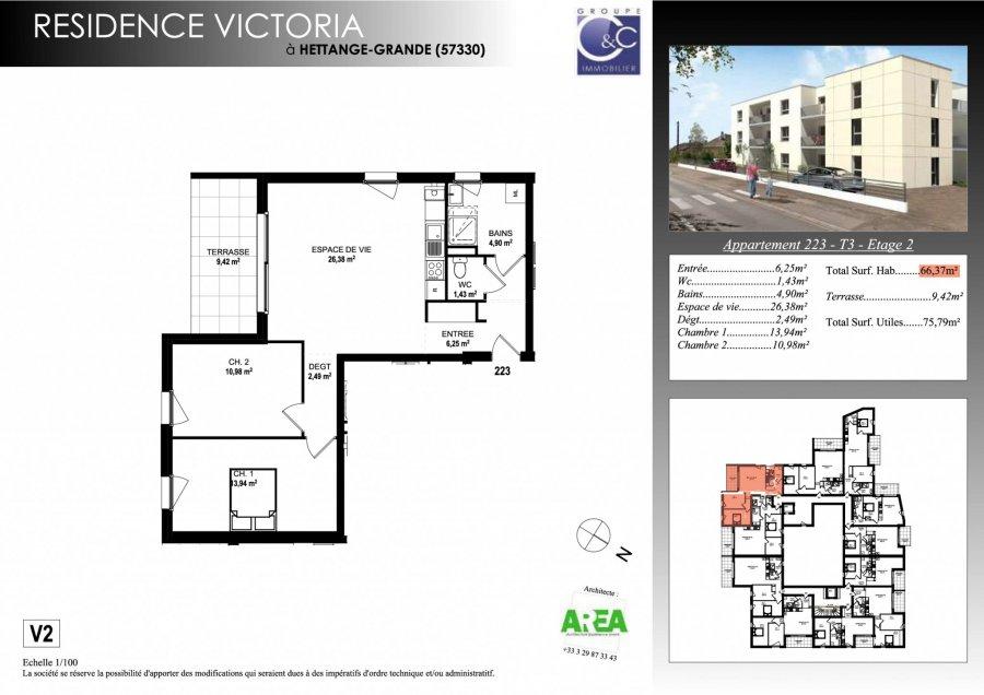 acheter appartement 3 pièces 66.37 m² hettange-grande photo 3