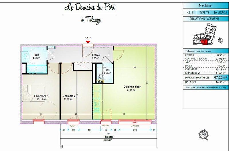 acheter appartement 3 pièces 67.2 m² talange photo 2