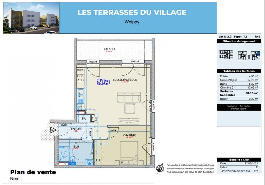wohnung kaufen 2 zimmer 50.05 m² woippy foto 4