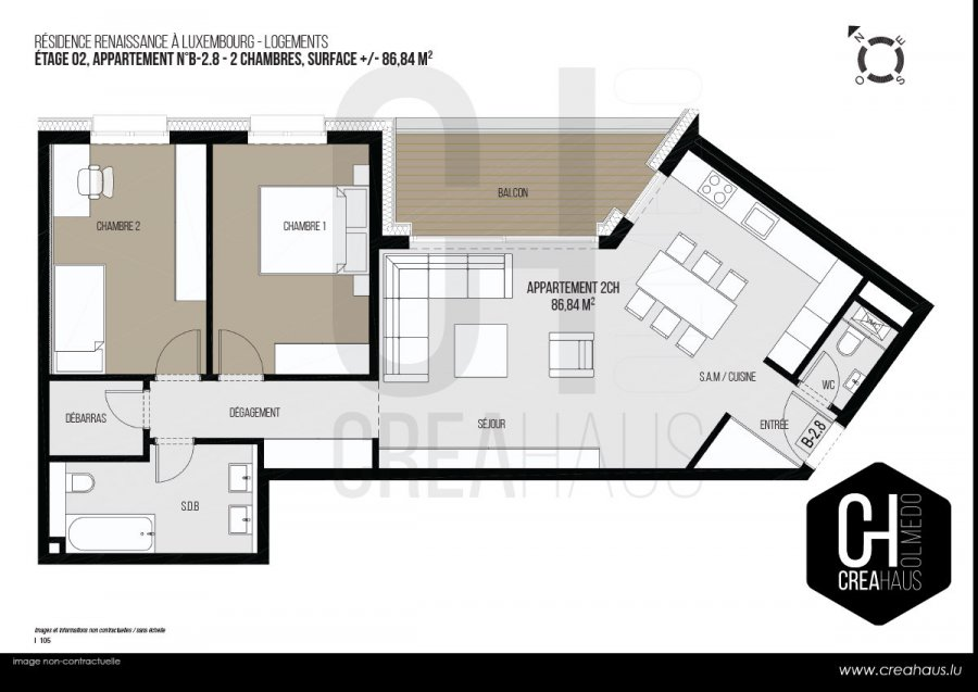 acheter appartement 2 chambres 86.84 m² luxembourg photo 3