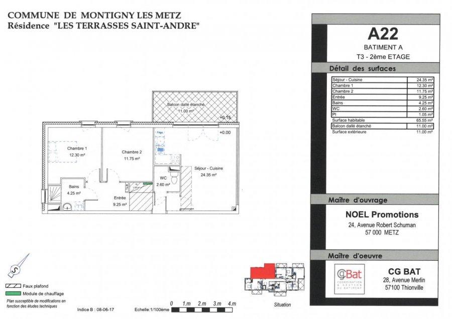 acheter appartement 3 pièces 65 m² montigny-lès-metz photo 1