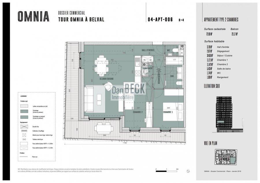 wohnung kaufen 2 schlafzimmer 72.69 m² belval foto 3
