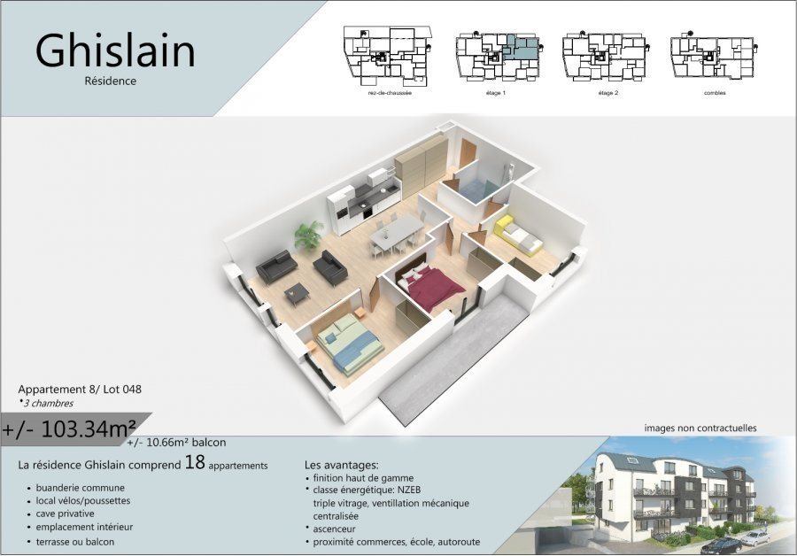 acheter appartement 3 chambres 108.67 m² rodange photo 2