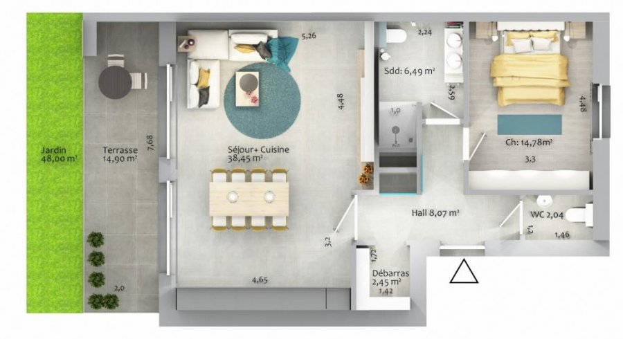 acheter appartement 1 chambre 75.06 m² ettelbruck photo 5