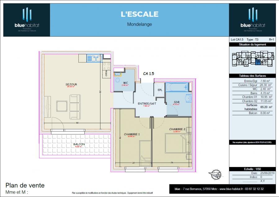 acheter appartement 3 pièces 65.2 m² mondelange photo 3