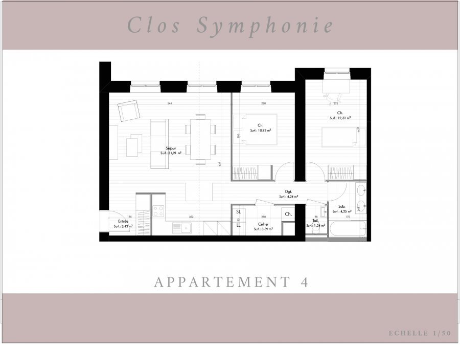 wohnung kaufen 3 zimmer 70.98 m² terville foto 3