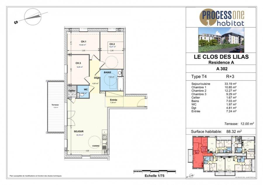 acheter appartement 4 pièces 88.32 m² aumetz photo 1