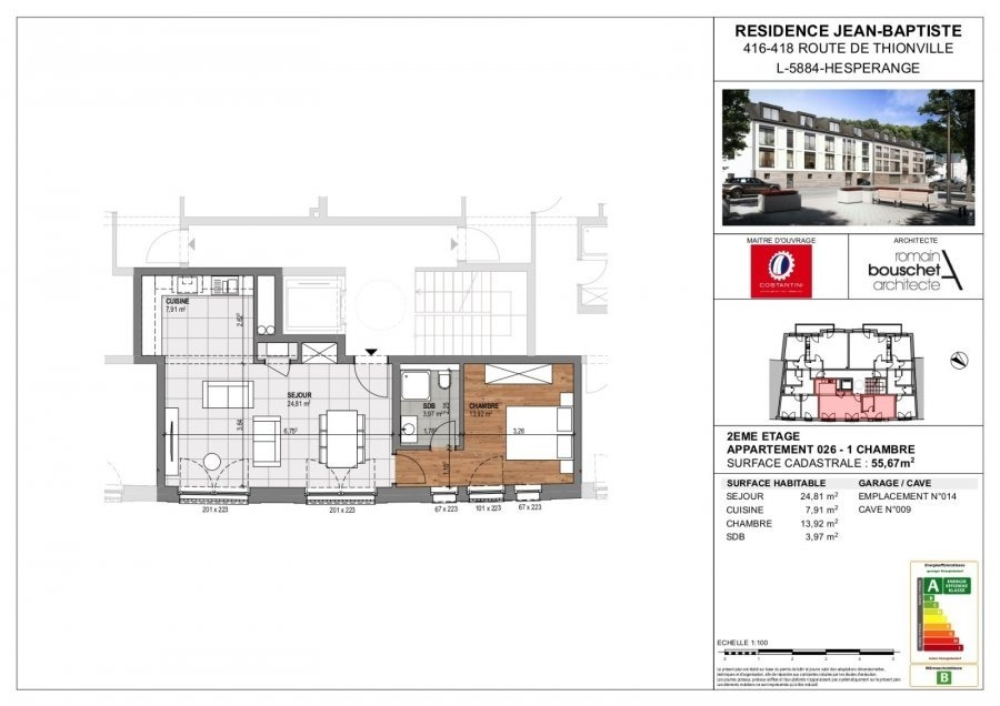 wohnung kaufen 1 schlafzimmer 55.67 m² hesperange foto 3