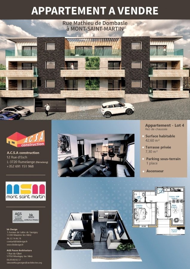 acheter appartement 2 pièces 49.55 m² mont-saint-martin photo 5