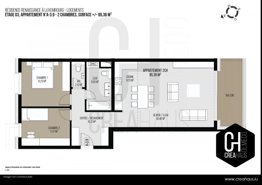 acheter appartement 2 chambres 85.36 m² luxembourg photo 3