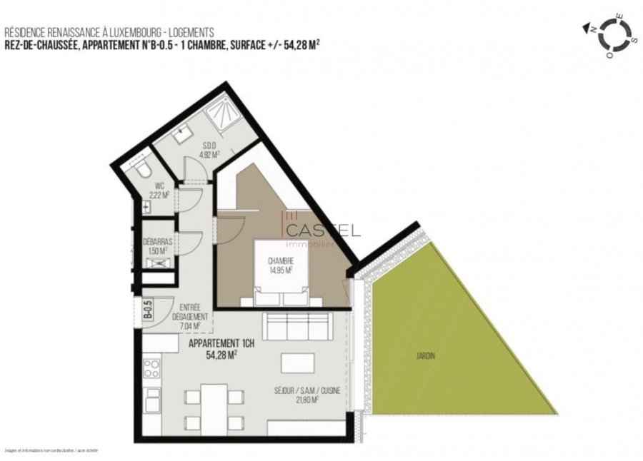acheter appartement 1 chambre 54.28 m² luxembourg photo 4