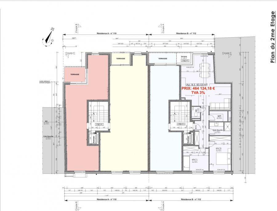 Votre agence IMMO LORENA de Pétange vous propose dans une résidence contemporaine en future construction de 12 unités sur 3 niveaux située à Pétange, 110, route de Luxembourg, un appartement au premier étage de 83,57 m2 décomposé de la façon suivante:  - Hall d'entrée -Double living de 36,01 m2 donnant accès à la terrasse de 2,98 m2 - WC séparé de 1,79 m2 - Débarras de 3,43m2 - Salle de douche de 4,96 m2 - Deux chambres de 11,24 m2 et 13,79 m2  - Une cave privative, un emplacement pour lave-linge et sèche-linge au sous sol. Possibilité d'acquérir un emplacement intérieur (28.840 €)TTC 3%  Cette résidence de performance énergétique AB construite selon les règles de l'art associe une qualité de haut standing à une construction traditionnelle luxembourgeoise, châssis en PVC triple vitrage, ventilation double flux, radiateurs, video - parlophone, etc... Avec des pièces de vie aux beaux volumes et lumineuses grâce à de belles baies vitrées.  Ces biens constituent entres autre de par leur situation, un excellent investissement. Le prix comprend les garanties biennales et décennales et une TVA à 3%. Livraison prévue 2023.  1,5% du prix de vente à la charge de la partie venderesse + 17% TVA Pas de frais pour le futur acquéreur   À VOIR ABSOLUMENT!  Pour tout contact: Joanna RICKAL: 621 36 56 40  Vitor Pires: 691 761 110  Kevin Dos Santos: 691 318 013  L'agence Immo Lorena est à votre disposition pour toutes vos recherches ainsi que pour vos transactions LOCATIONS ET VENTES au Luxembourg, en France et en Belgique. Nous sommes également ouverts les samedis de 10h à 19h sans interruption.