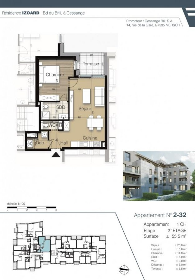 acheter appartement 1 chambre 55.49 m² luxembourg photo 4