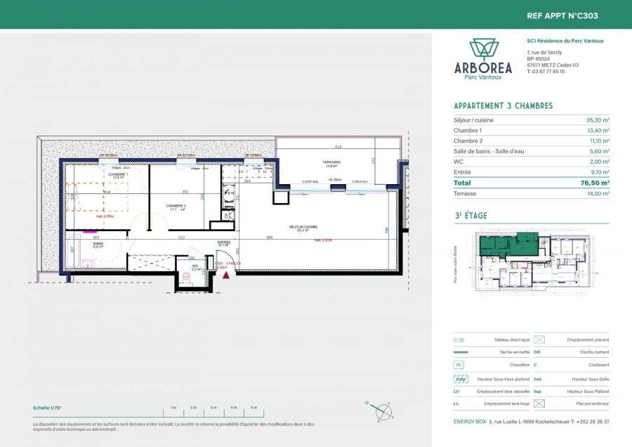acheter appartement 3 pièces 76.5 m² vantoux photo 2