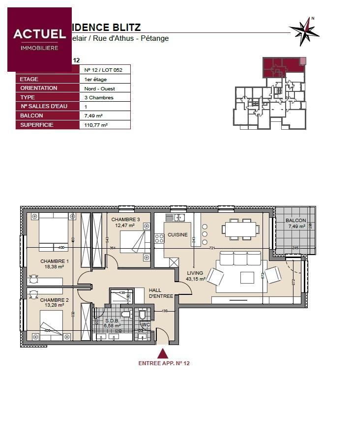 acheter appartement 3 chambres 115 m² pétange photo 3