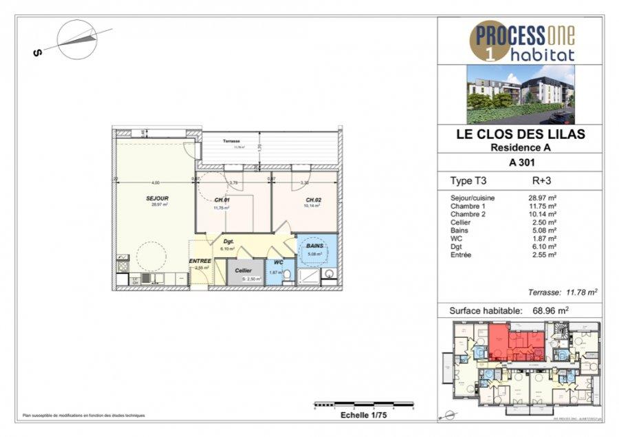 acheter appartement 3 pièces 68.96 m² aumetz photo 1
