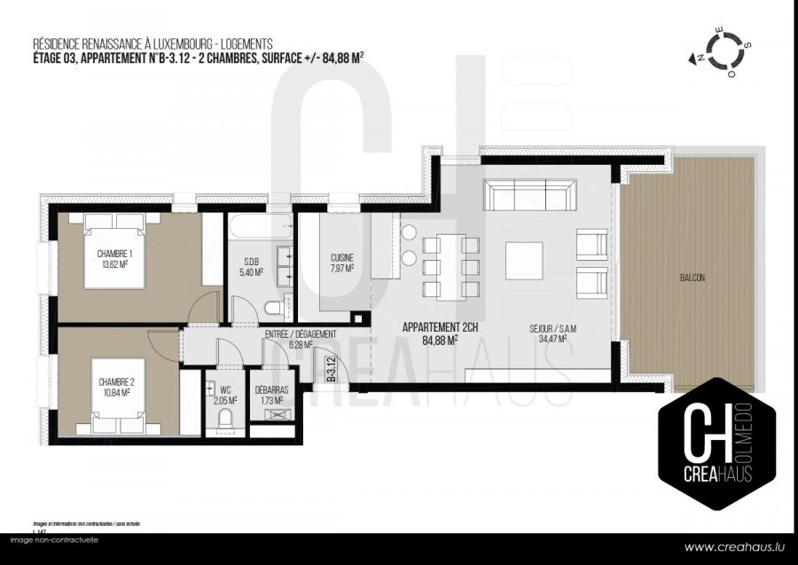 acheter appartement 2 chambres 84.88 m² luxembourg photo 3