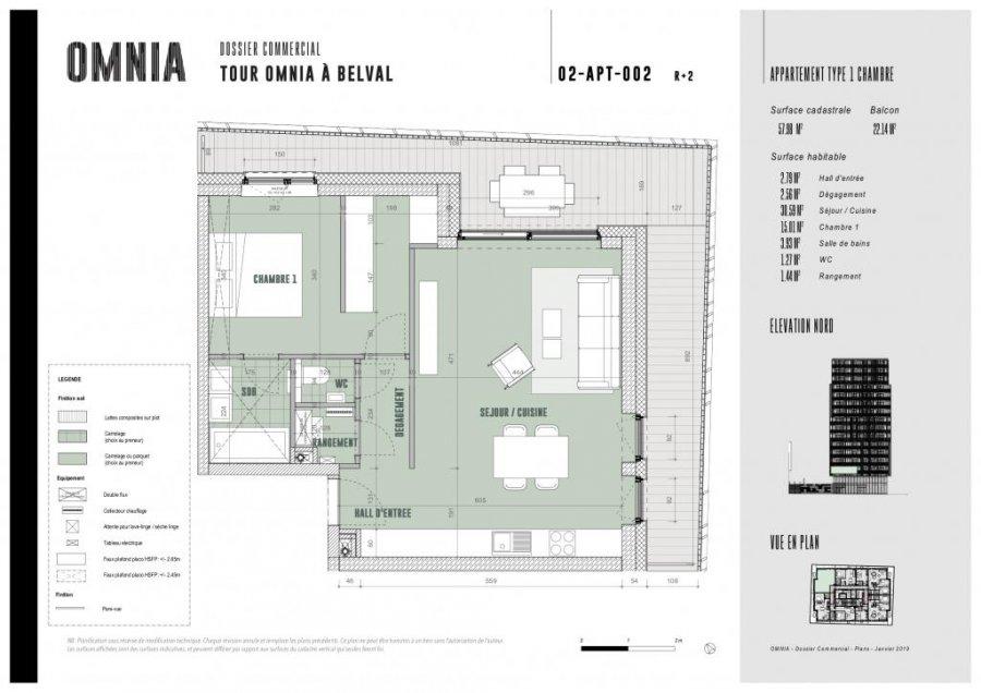 wohnung kaufen 1 schlafzimmer 57.98 m² belval foto 3