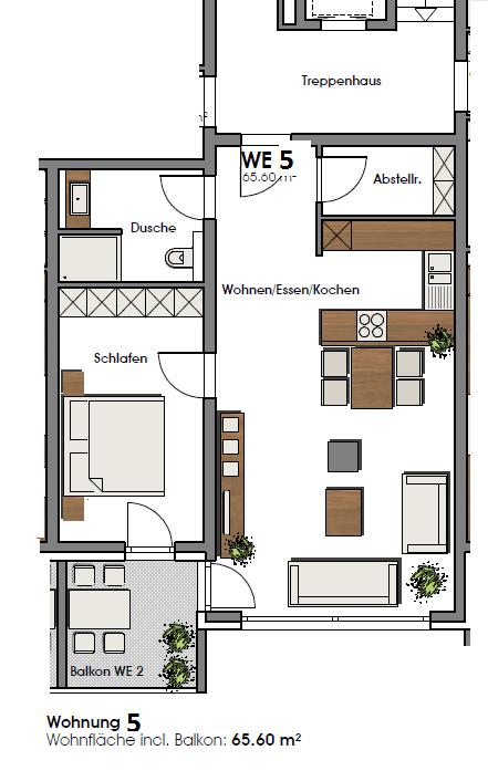 louer appartement 2 pièces 65.6 m² perl photo 2