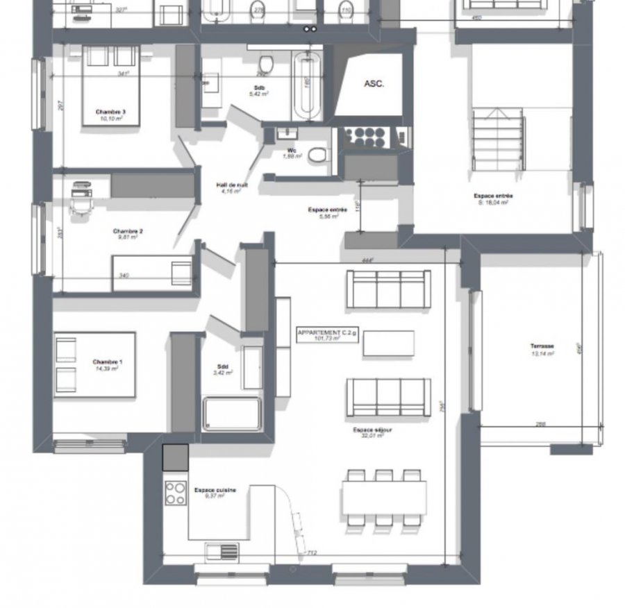 acheter appartement 3 chambres 104 m² eschweiler photo 3