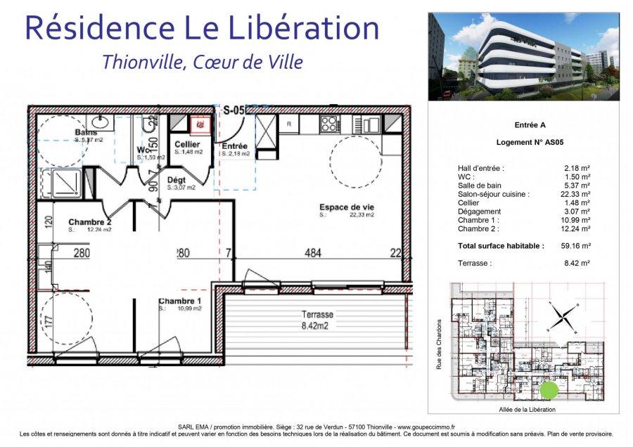 acheter appartement 3 pièces 59.16 m² thionville photo 2