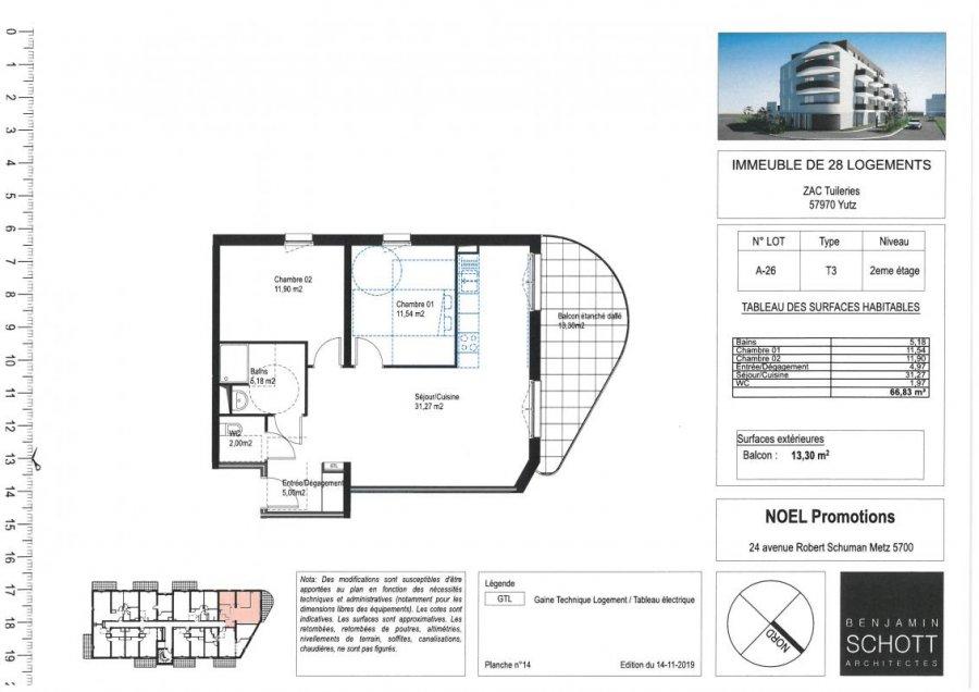 acheter appartement 3 pièces 70 m² yutz photo 1