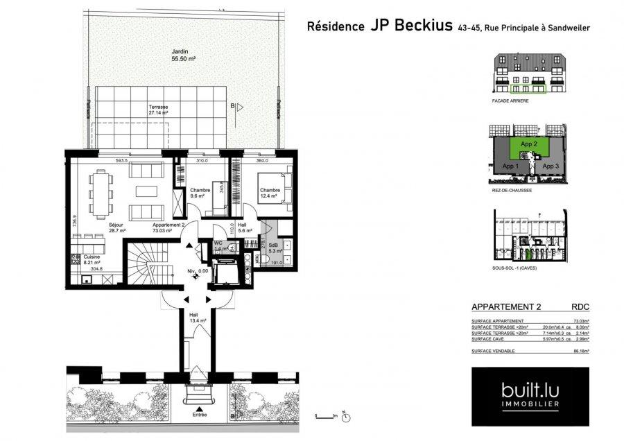 acheter appartement 2 chambres 73 m² sandweiler photo 2