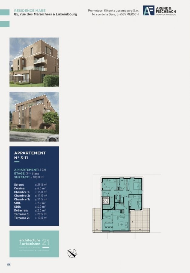 acheter penthouse 3 chambres 108 m² luxembourg photo 2