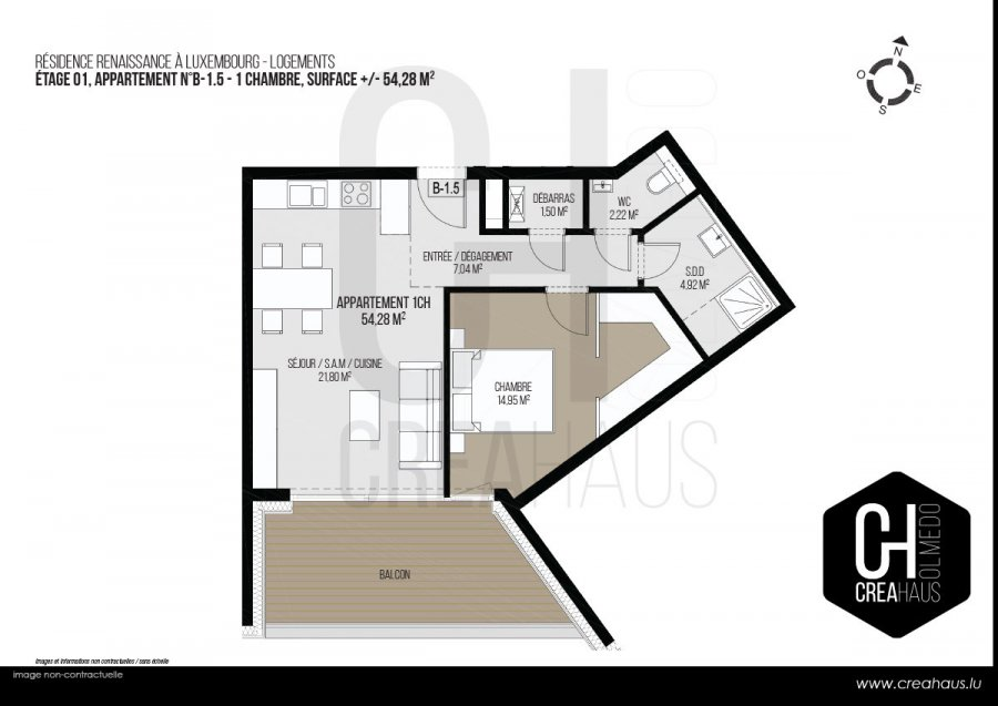 acheter appartement 1 chambre 54.28 m² luxembourg photo 3