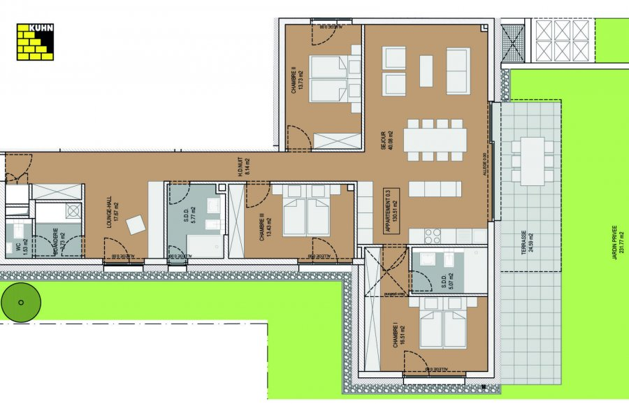 wohnung kaufen 3 schlafzimmer 130.51 m² steinfort foto 1