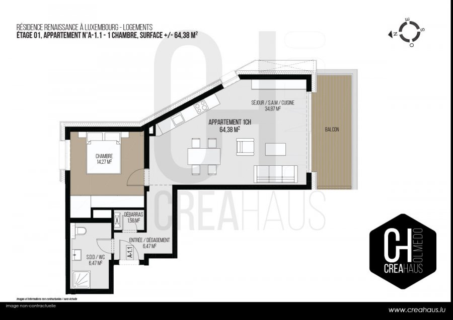 apartment for buy 1 bedroom 64.38 m² luxembourg photo 3