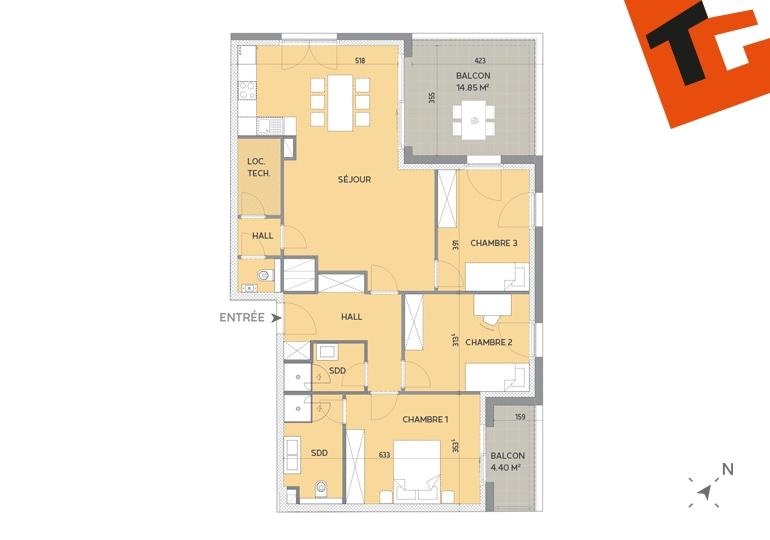 apartment for buy 3 bedrooms 104.04 m² howald photo 2